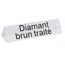 Lot de 5 signalétiques, transparent, plexiglass, diamant brun traité