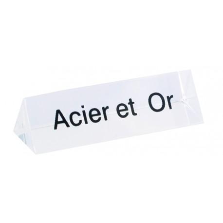 Bloc Plexi Signalétique Acier et Or  35x10xht
