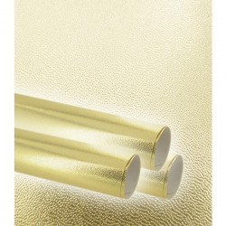 Gift paper, embossed fine, gold métal, width 70 cm, roll of 50 m