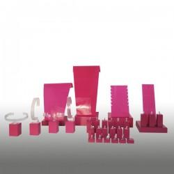 Présentoir kit M, multifonctions, fushia, plexiglass