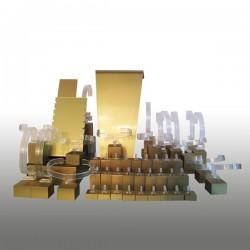 Présentoir kit M, multifonctions, doré, plexiglass
