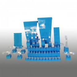 Présentoir kit S, multifonctions, turquoise, plexiglass