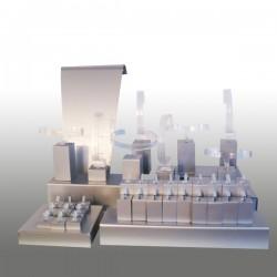 Présentoir kit M, multifonctions, argent, plexiglass