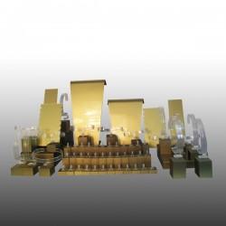 Présentoir kit XL, multifonctions, doré, plexiglass