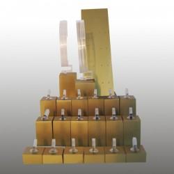 Présentoir kit XS, multifonctions, doré, plexiglass