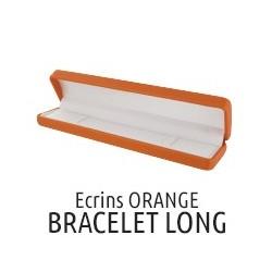 Ecrins bracelet long orange simili cuir