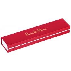 Ecrin à Bracelet rectangle, rouge, en carton, bonne fête maman, dorure or