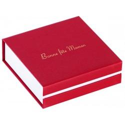 Ecrin à pendentif chaîne carré rouge, en carton,  bonne fête maman, dorure or
