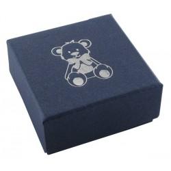 Ecrin bleujean à Boucles d'oreilles carré, en carton, Enfant, nounours dorure argent