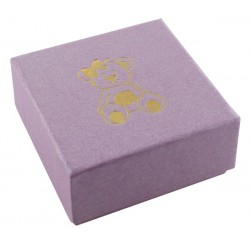 Ecrin parme à Boucles d'oreilles carré, en carton, Enfant, nounours dorure or