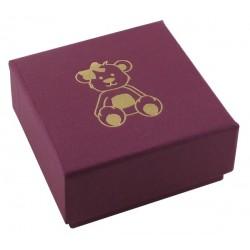 Ecrin fushia à Boucles d'oreilles carré, en carton, Enfant, nounours dorure or