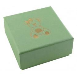 Ecrin vert pomme à Boucles d'oreilles carré, en carton, Enfant, nounours dorure or