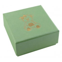 Green apple earring box, cardboard, kids, gold gilded teddy bear