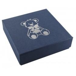Ecrin bleujean à pendentif chaîne carré, en carton, Enfant, nounours dorure argent