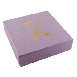 Ecrin parme à pendentif chaîne carré, en carton, Enfant, nounours dorure or