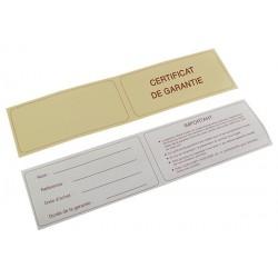 1000 certificats de garantie   90xh45 mm sans
