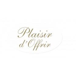 500 etiquettes Plaisir d'Offrir 35x20 mm Fond Blanc texte or