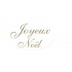 Etiquettes ovales joyeux noël blanches, texte or - 35x20 mm