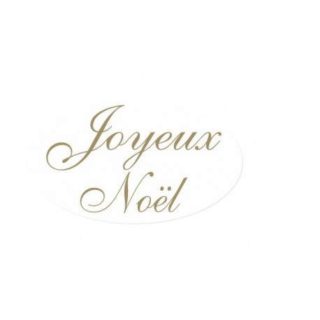 500 etiquettes Joyeux Noel 35x20 mm Fond blanc texte or