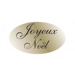 Lot de 500 étiquettes ovales joyeux noël or, texte noir - 35x20 mm