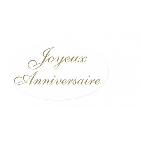 500 etiquettes Joyeux Anniversaire 35x20 mm fond blanc texte or