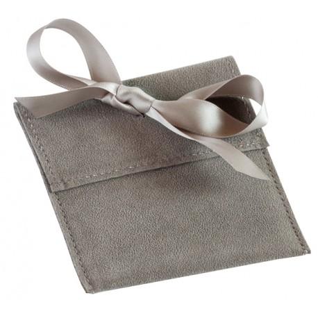 Pochette suedine avec ruban satin  100x100 mm