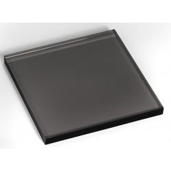 Socle carré, noir transparent, plexiglass, 200/H15 mm
