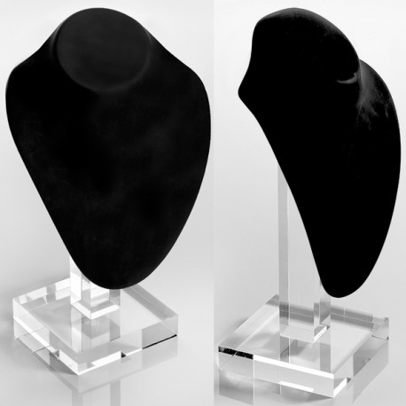 Buste PU noir 170x70x220mm+pied transp. 240mm