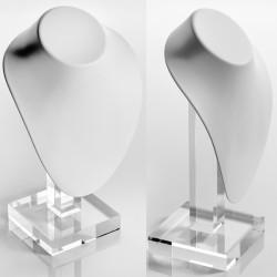 Buste blanc gainé, pied transparent plexiglass, H 240 mm