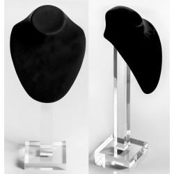 Buste noir gainé, pied transparent plexiglass, H 360 mm