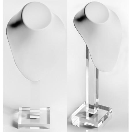 Buste PU blanc 170x70x220mm+pied transp.360 mm