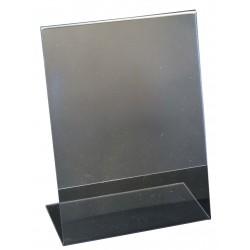 Porte visuel transparent avec pied, plexiglass - 100x135 mm