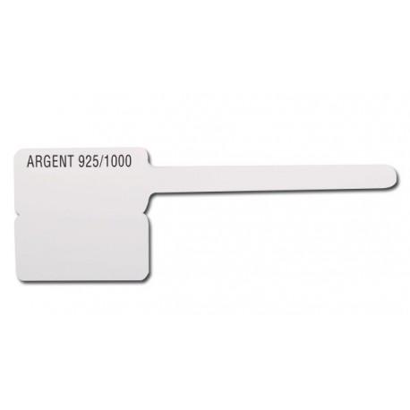 Lot 1000 etiquettes plast.ATEO 8x15 mm ARGENT 925/00