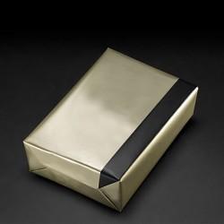 Papier cadeau réversible bronze/noir, largeur 30 cm, rouleau de 250 m