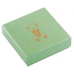 Ecrin vert pomme à pendentif chaîne carré, en carton, Enfant, nounours dorure or